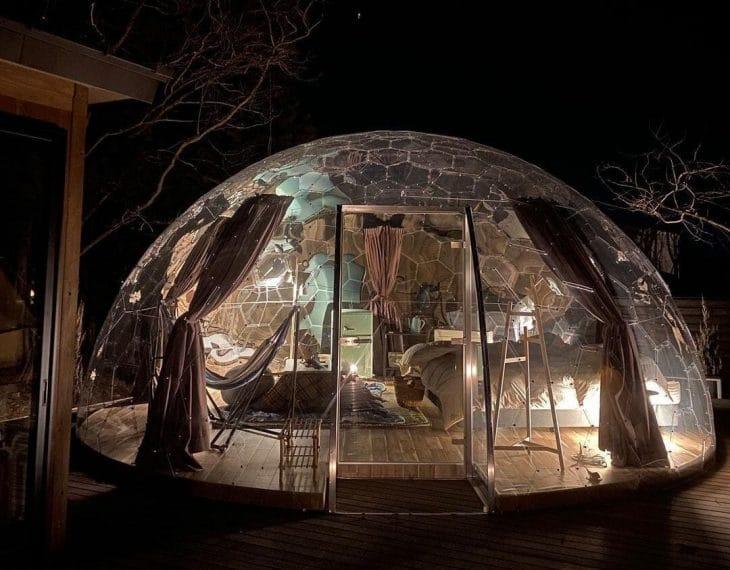 那須ハミルの森の透明ドーム客室